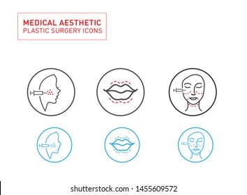 Medical Aesthetic and beauty Line icon set