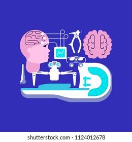 Medical ambulance icons in flat style. Neurosurgery and homogeneous knife icons isolated on dark blue background. Rastered copy