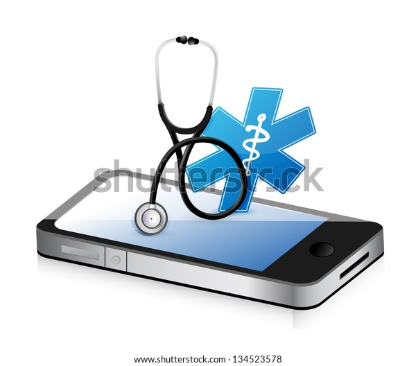 medical app with a Stethoscope illustration design over white