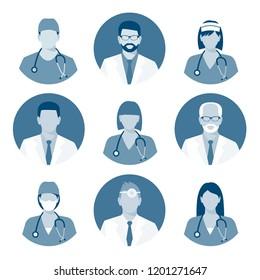 Medical avatars set. Medical clinic staff flat avatars. monochrome illustration. bitmap