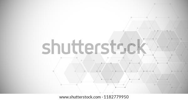 来自六边形的医学背景。 现代通信,医学,科学和数字技术设计的几何元素。 六角图案背景