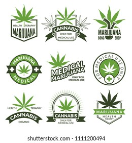 Medical badges or labels set. Monochrome illustrations of canabis and marijuana. Collection of marijuana and canabis medical emblems