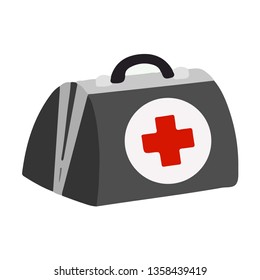 Medical Bag First Aid Kit help symbol on White Background Flat Graphic Illustration simple closeup