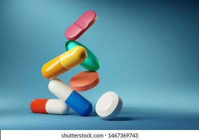 Medical balancing act. A group of medicine pills and antibiotics balacning on top of each other. 3D render illustration.