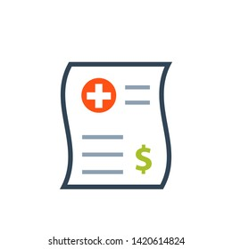 Medical bill color icon. Clipart image isolated on white background