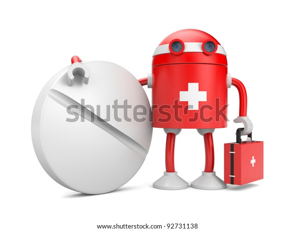 Medical bot with pill. Image contain clipping path