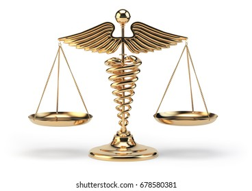 Medical caduceus symbol as scales. Concept of medicine and justice. 3d illustration.