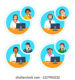 Medical call center support operators. Doctors with headsets talk by phone with patients. Cartoon illustration. Customer care service online. Women and men of different ethnicity in white coats