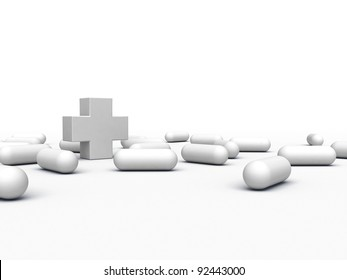 medical capsules and a cross
