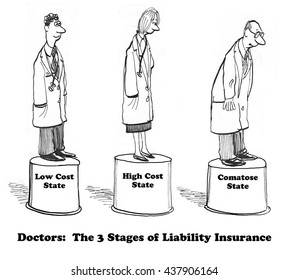 Medical cartoon about liability insurance.