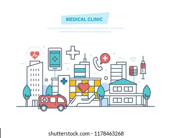Medical clinic, hospital building, healthcare, medical facility, ambulance. City building. Clinic exterior, architecture hospital, landscape. Illustration thin line design of doodles
