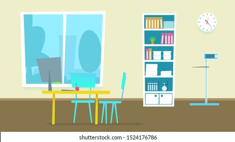Medical Consultation Cabinet. Illustration of Doctor Office Room in Hospital. Flat Design Interior Panorama with Furniture: Desk, Chairs, Monitor, Window. People Examination Diagnosis.