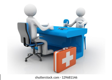 Medical consultation. Doctor and patient talking at the office