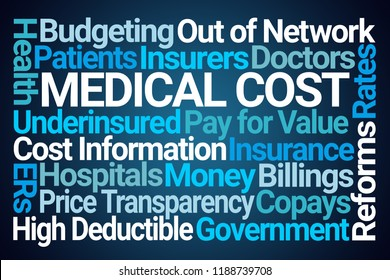 Medical Cost Word Cloud on Blue Background