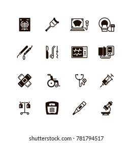 Medical devices and equipment icons. Medical tomograph and mrt, ultrasound equipment illustration