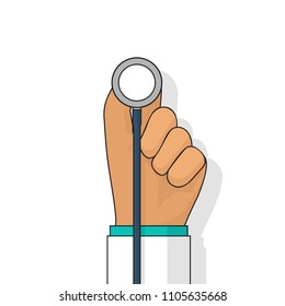 Medical diagnostics concept analysis, research. Web banner. Doctor hold medical stethoscope, isolated on background. Illustration flat design. Healthcare, diagnostic tool. Listen to heartbeat.