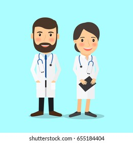 Medical doctor characters in cartoon style illustration