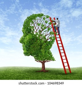 Medical Doctor Exam with a health care worker wearing a lab coat climbing a red ladder examining a human head shaped tree as a symbol of brain surgery and intelligence.