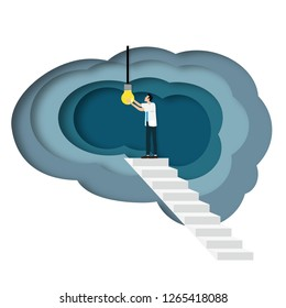 Medical doctor open a light bulb inside the brain as a symbol of creative idea. Concept for cognitive rehabilitation in Alzheimer disease and dementia patient. White background.