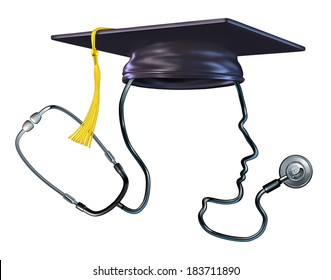 Medical education concept  as a doctor stethoscope shaped as a human head wearing a graduation hat or mortar board as a metaphor and symbol of health care students or hospital medicine professor.