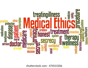 Medical Ethics, word cloud concept on white background.