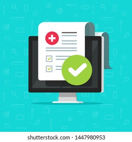 Medical form check list with results data and approved check mark online icon, flat cartoon computer and clinical checklist document report with checkbox, insurance or tele medicine service image