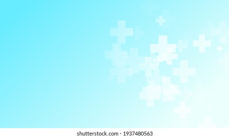 Medical green blue cross pattern background. Abstract healthcare technology and science concept.