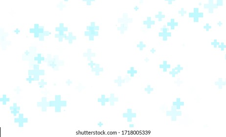 Medical health blue cross pattern white background. Abstract healthcare technology and science concept.