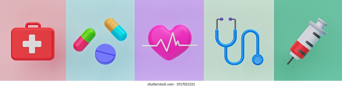 Medical and Health care icons Set. minimal objects banner. 3d rendering