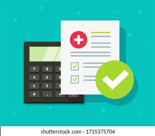 Medical health care insurance form calculator or medicare healthcare document risk claim coverage check list flat cartoon, pharmacy life allowance policy or financial tax expenses concept image