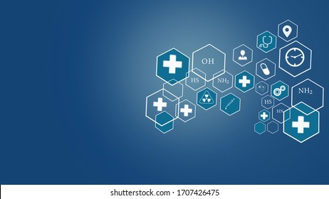 Medical health care and interfaces innovation concept on blue background.