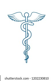 Medical  or Healthcare symbol - Staff of Asclepius or Caduceus with wings line art icon isolated on white background. illustration