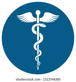 Medical or Healthcare symbol - Staff of Asclepius or Caduceus with wings in circle icon isolated on white background. The snake entwined around a wooden staff with wings. illustration