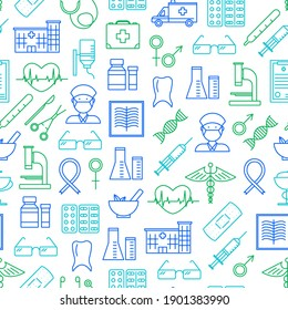Medical Healthcare Thin Line Seamless Pattern Background for Web and App Include of First Aid Box. illustration of Health Care Signs