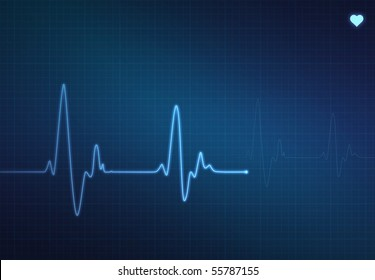 Medical heart monitor (electrocardiogram) measuring heartbeat rate with blue background and heart symbol