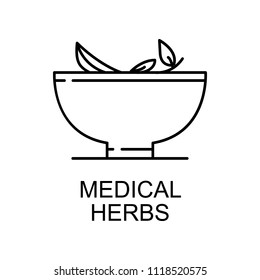 medical herbs line icon. Element of medicine icon with name for mobile concept and web apps. Thin line medical herbs icon can be used for web and mobile on white background