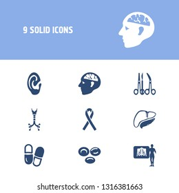 Medical icon set and ear with trachea, x-ray and pill. Support to cancer related medical icon  for web UI logo design.