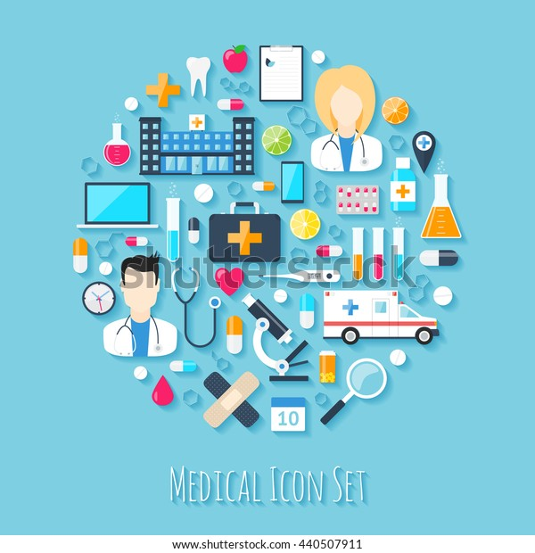 Medical icon set. Flat design health medical icons collection illustration.