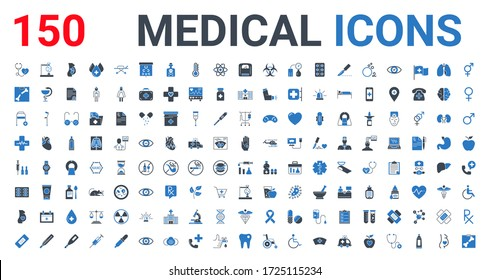 Medical Icons Set. Glyph Blue Icons, Sign and Symbols in Flat Design. Medicine and Health Care with Elements for Mobile Concepts and Web Apps. Collection Modern Infographic, Logos and Pictograms.