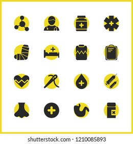 Medical icons set with sludge, doctor and medicine elements. Set of medical icons and clipboard concept. Editable  elements for logo app UI design.