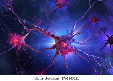 Medical illustration of human neuron cells neuroactivity: glowing brain link knots, neurotransmitters, axons, active nerve synapses with electrical chemical signals in abstract colorful space 3D image