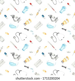 Medical instruments and medicines on a white background. Watercolor seamless pattern