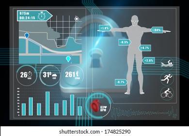 Medical interface against shiny lock on black background