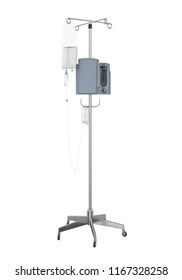 Medical IV Poles Stand Isolated. 3D rendering