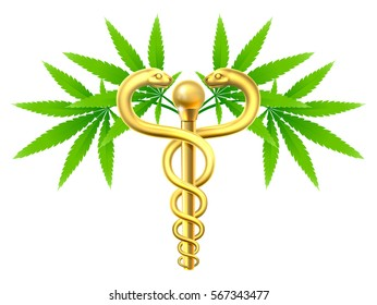 Medical marijuana cannabis plant caduceus symbol with two snakes and rod