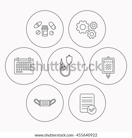 Medical Mask Blood Pills Icons Enema Stock Illustration