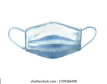 Medical mask isolated on the white background. Hand drawn watercolor illustration