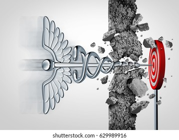 Medical and medicine goal health care success concept as a caduceus symbol breaking through a wall to hit a hidden target as a healthcare symbol for reform or research with 3D illustration elements.