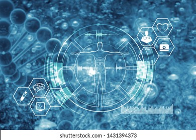 Medical, medicine and Science. Molecular DNA model Structure and DNA sequencing. Analysis. Digital healthcare and network connection on hologram  interface, medical technology and network concept.