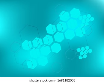 Medical modern blue background. Technology polygonal concept. Abstract hexagon futuristic background for innovation medicine, health, research and science.